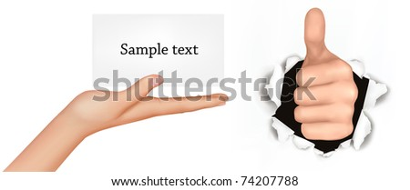 Hand with thumb up has broken through a paper and hand with card. Vector illustration. - stock vector