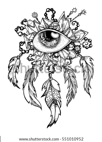 handmade native american indian talisman dreamcatcher with feathers vector hipster illustration ethnic design - Hipster Coloring Book