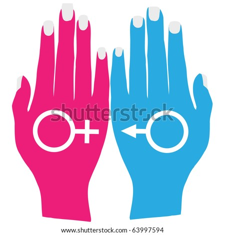 Hands holding male and female symbols.Vector