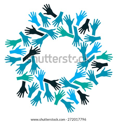 Hands Logo Circle. Concept of teamwork and Community - stock vector