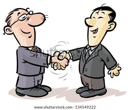 Handshake of businessmen from different nationalities. - stock vector
