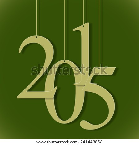 2015 hanged numbers, abstract vector art illustration, image contains transparency - stock vector