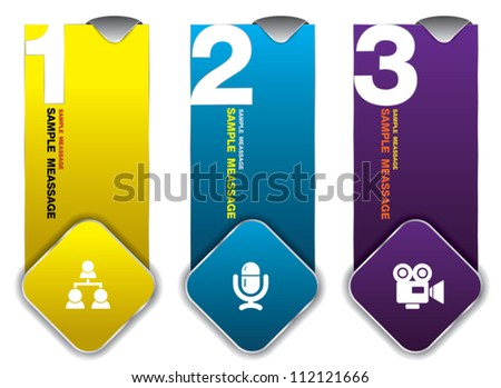 123 hanging tag color, can use for business concept, education diagram, brochure object. - stock vector