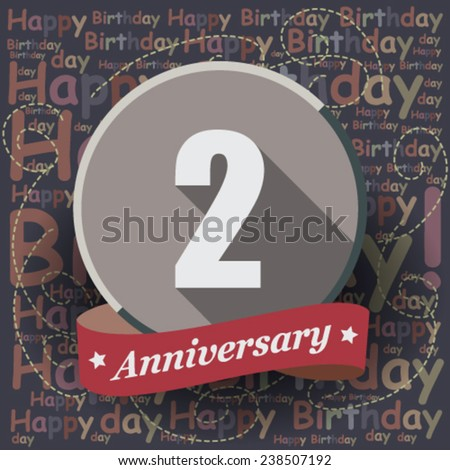 1 Happy Birthday Anniversary background or card. Flat design. - stock vector