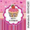 Happy birthday card. Illustration of cute cupcake - stock vector