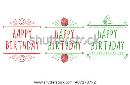 U0027Happy Birthdayu0027 Card Templates With Hand Drawn Elements: Smile, Cupcake,  Happy Birthday Cards Templates