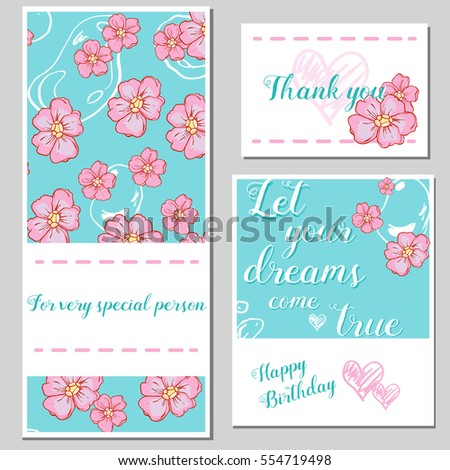 Happy Birthday Card Valentine Card Set Stock Vector 554719498