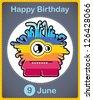 Happy birthday card with cute cartoon monster - stock vector