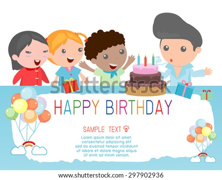 Happy Birthday  for kids.  - stock vector
