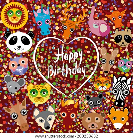 Happy birthday. funny cute animal face on a brown background. Heart. Colored confetti. vector - stock vector