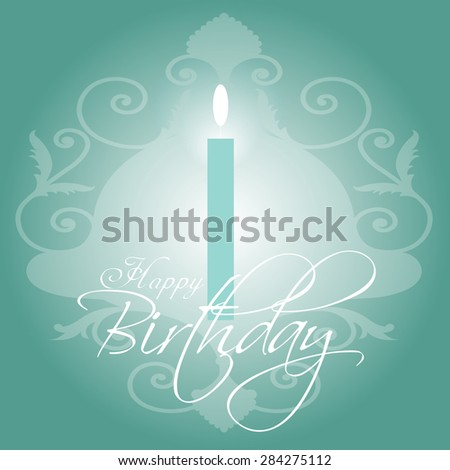 'happy birthday' hand lettering - handmade calligraphy,  with candle vector. - stock vector