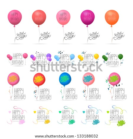 """Happy Birthday"" Text - Handwritten - With Balloons - Set - Isolated On White Background - Vector Illustration, Graphic Design Editable For Your Design. Logo Symbols - stock vector"