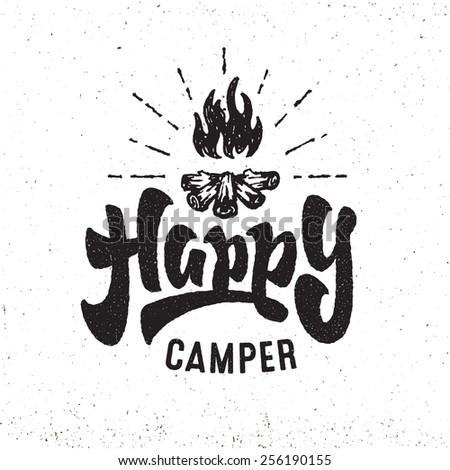 Happy Camper Vintage Hand Lettered Badge Stock Vector Royalty Free 256190155