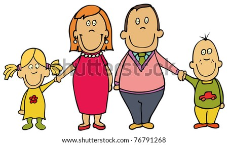 Happy cartoon family - mother, father and kids