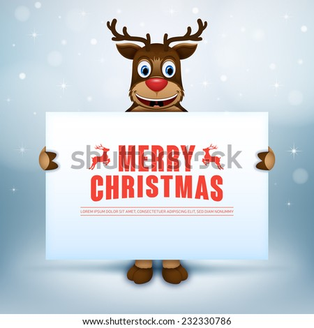 Happy deer. Creative Christmas card.  Happy deer looking out from behind the blank sign. - stock vector