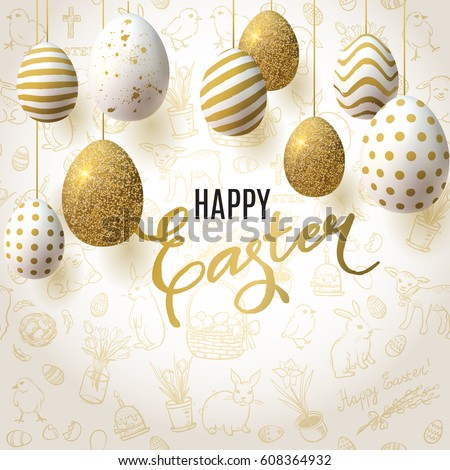 Easter Egg Hunt Invitation Paper Eggs Stock Vector