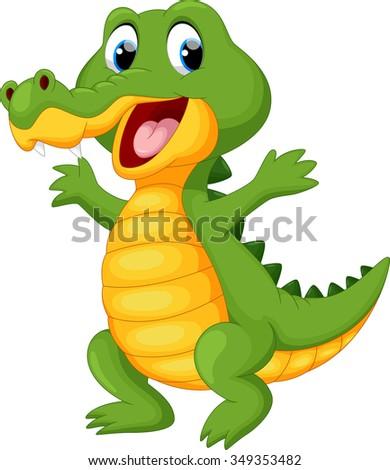Happy fun crocodile cartoon - stock vector