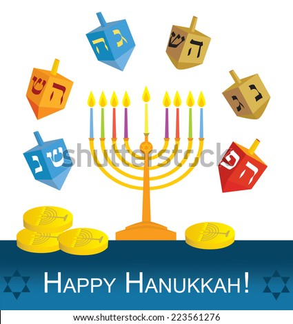 Happy Hanukkah:  Hanukkah menorah, dreidels and coins - EPS 10 - stock vector