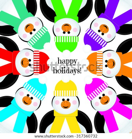 """""""Happy Holidays"""" Penguins Peeking Into Page on White - stock vector"""