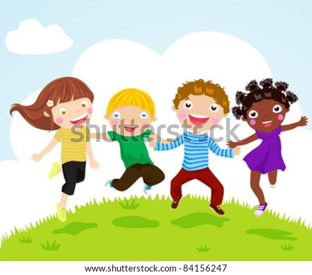 Happy jumping girls and boys - stock vector