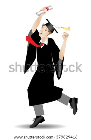 Happy male in cap and grown holding diploma or degree in hand
