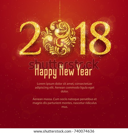 2018 Happy New Year and Merry Christmas Background with golden glitter numbers with Christmas ball on red background. Vector holiday design for your flyer banner and greeting cards