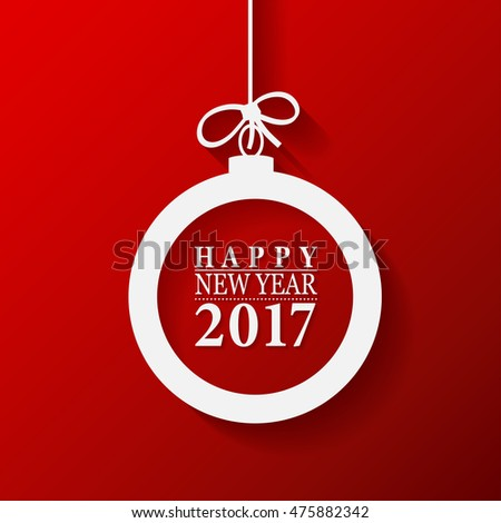 2017 Happy New Year and Merry Christmas Ball greeting card or background. Vector illustration.