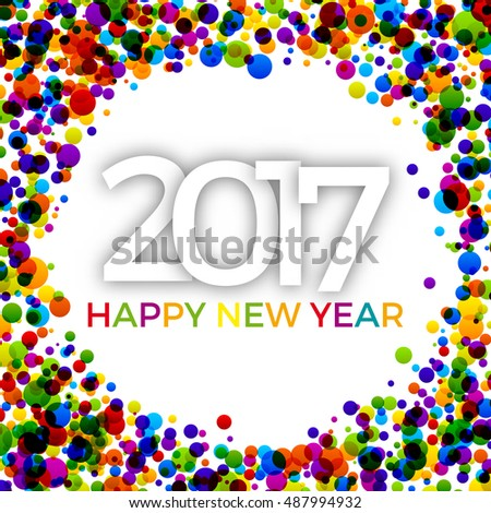 2017 Happy New Year Background with colorful cirlces