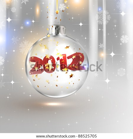 2012 Happy New Year background with glass Christmas ball - stock vector