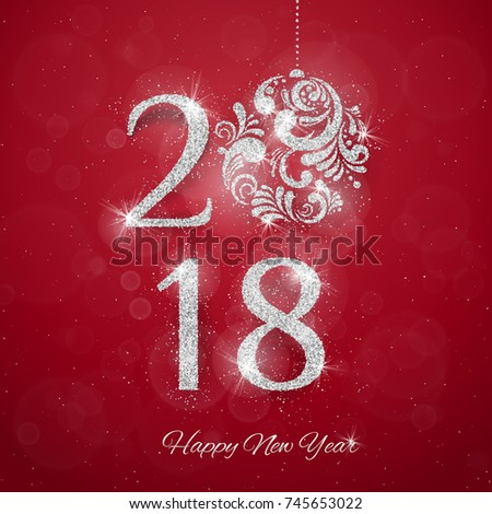 2018 Happy New Year Background with silver glitter numbers on red background. Vector new year holiday banner