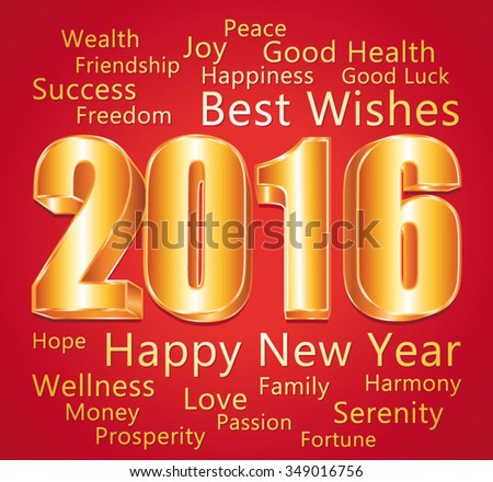 2016 Happy New Year. Best wishes. Red and gold vector greeting card. - stock vector