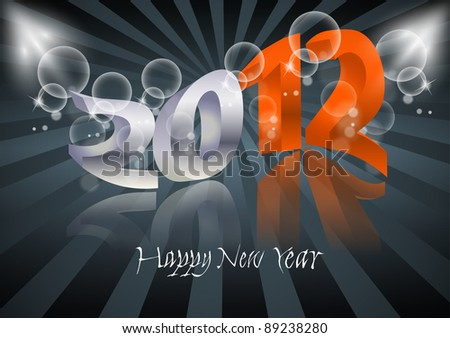 2012 Happy New Year card - stock vector