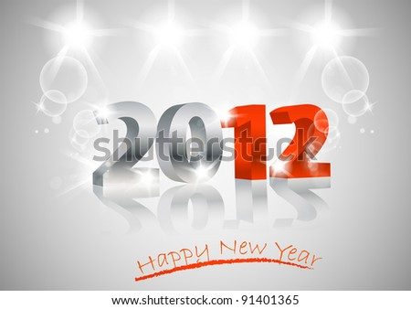 2012 Happy New Year card, 3d design - stock vector