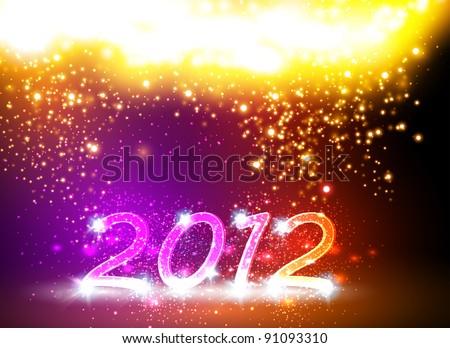 2012 Happy New Year card, neon design - stock vector