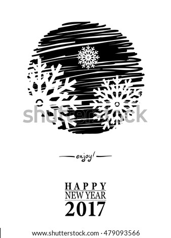 2017 Happy New Year card or background. Trendy style with hand-lettering words. Vector illustration Black, white, gold colors design. Banner template for flat design.