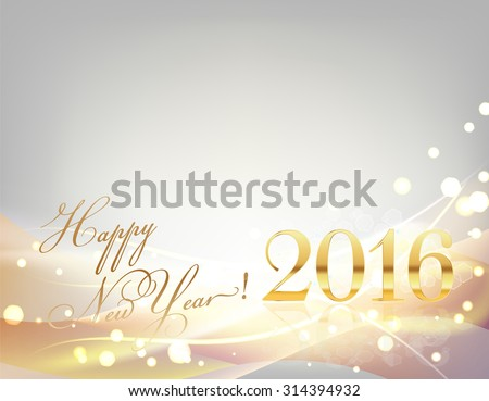2016 happy new year card with sparkling gold lights, stripes, light waves, on gray - stock vector