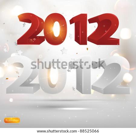 2012 Happy New Year elements set. Easy editable. - stock vector