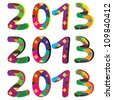 2013 Happy New Year figures,  pixel art stickers isolated on white - stock vector