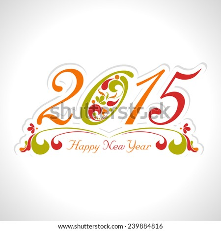 2015 Happy New Year Floral design in white background