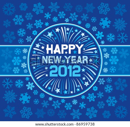 2012 Happy New Year greeting card - stock vector