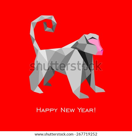 2016 Happy New Year greeting card. Celebration red background with monkey and place for your text. Vector Illustration   - stock vector