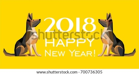 2018 happy new year greeting card stock vector 700736305 shutterstock 2018 happy new year greeting card celebration yellow background with dog german shepherd and place m4hsunfo