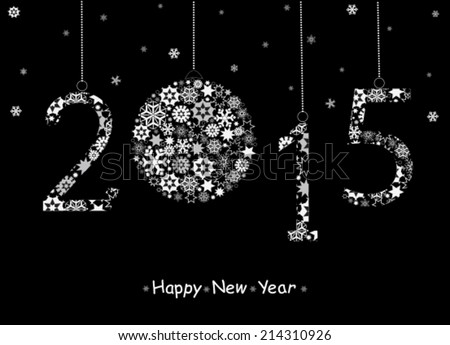 Happy New Year 2015  greeting card from white snowflakes. Vector - stock vector