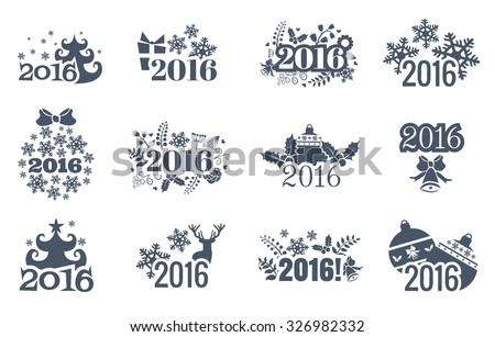 2016 Happy New Year greeting card isolated on white background. Celebration background with Christmas tree, gift boxes and place for your text. Vector Illustration - stock vector