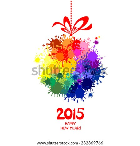 2015 Happy New Year greeting card isolated on white background. Vector illustration  - stock vector