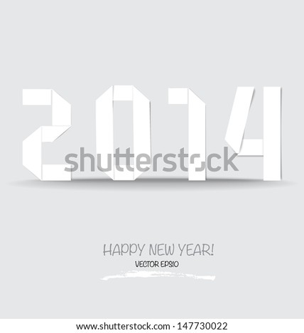 2014 Happy New year greeting card made in origami style. Vector illustration. - stock vector
