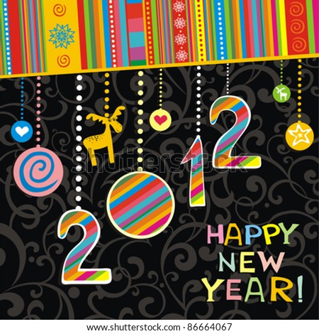 2012 Happy New Year greeting card or background. Vector illustration - stock vector