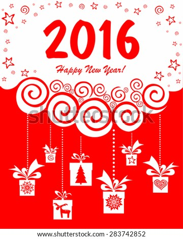 2016 Happy New Year greeting card. Vector Illustration