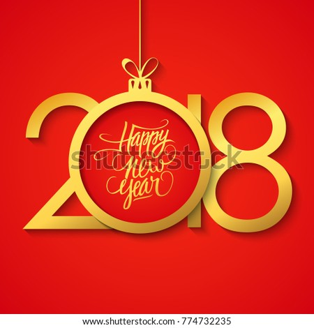 2018 happy new year greeting card stock vector 2018 774732235 2018 happy new year greeting card with hand drawn lettering holiday greetings and golden christmas ball m4hsunfo