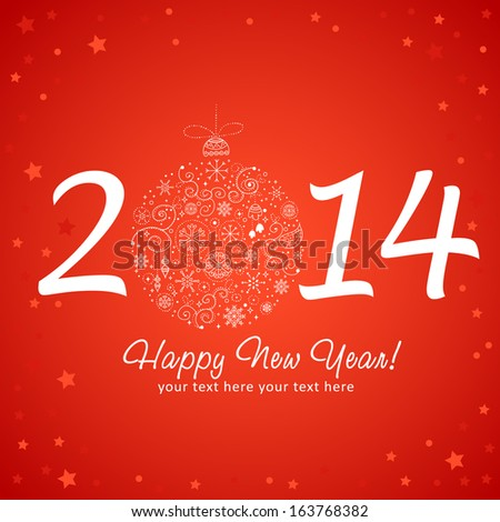 2014 happy new year greeting card stock vector 163768382 shutterstock 2014 happy new year greeting card with stylized design christmas tree toy ball made of stars m4hsunfo Images